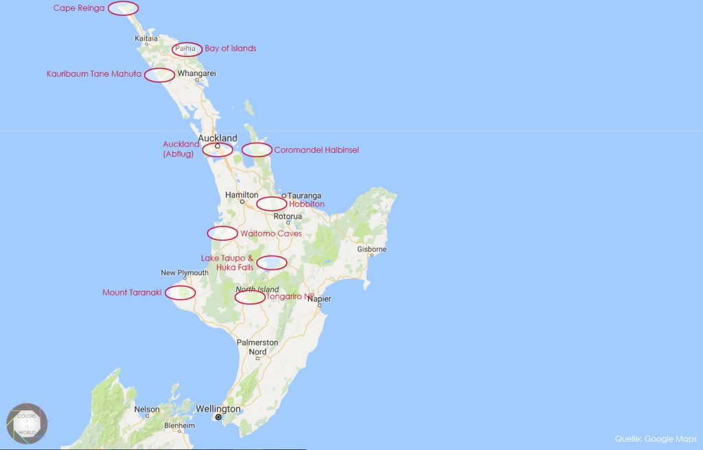 Karte Neuseeland Ziele Nordinsel